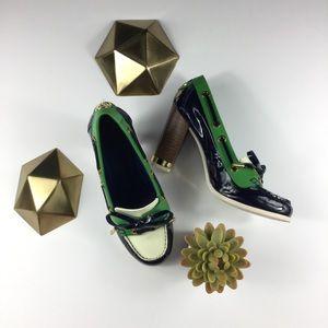 Tory Burch Fisher Block Heel Pump Shoe Rare
